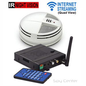 Internet Streaming Smoke Detector Hidden Camera with Quad View nightvision